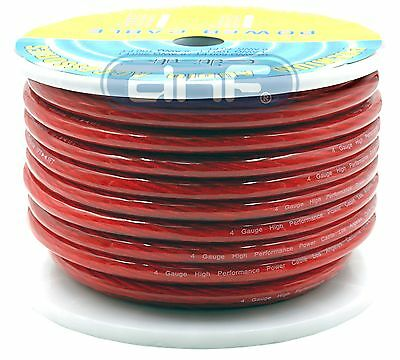 4 Gauge 100 Feet Red See Through Amplifier Power/ Ground Cable with Spool