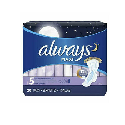 Always Maxi Pads Overnight Extra Heavy Flow 20 Each (Pack of 2)