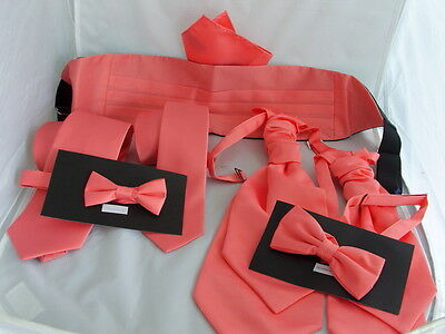 Coral-Salmon Collection Polyester Hankies-Bow ties-Neckties-Cummerbunds and Sets