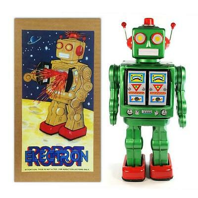"""TIN TOY ELECTRON ROBOT 12"""" Green ME100 Battery Operated NIB Outer Space  Retro"""