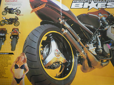 "YAMAHA RD350 YPVS SPECIAL # ORIGINAL MOTORCYCLE DOUBLESIDE CENTREFOLD # 11""x 16"""