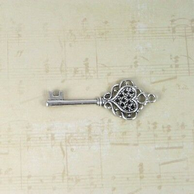 Skeleton keys 12 antique vintage old look party 3 color lacy heart skelton craft