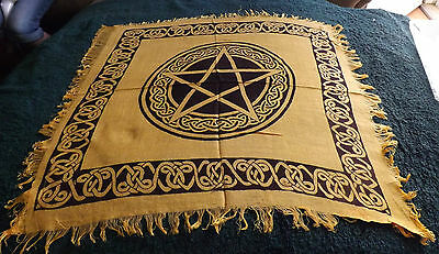 Black & Yellow 18 X 18 Pentacle Altar Cloth/ Wiccan/ Pagan