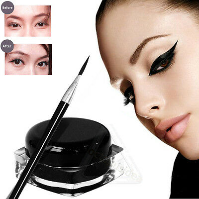 UK New Black Waterproof Eye Liner Eyeliner Shadow Gel Makeup Cosmetic + Brush