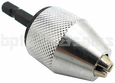 "1/4"" Inch Keyless Drill Bit Chuck Quick Change Adapter Converter Hex Shank NEW"