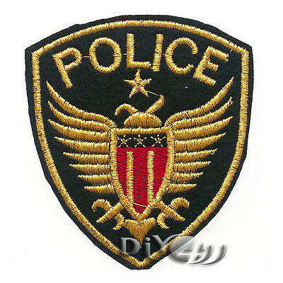 Gold Letter Police Badge Patch Sew Iron on Applique Coat Craft Embroidered DIY