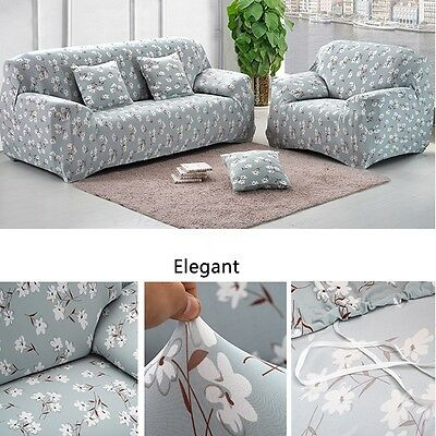 1-3 Seater Removable Stretch Sofa Slipcover Couch Cover Pillowcase Flower Blue