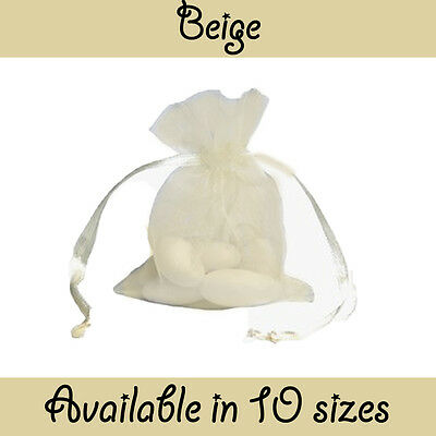 Beige Organza Gift Pouch Wedding Favour Jewellery Bags in 23 Colours & 10 Sizes!