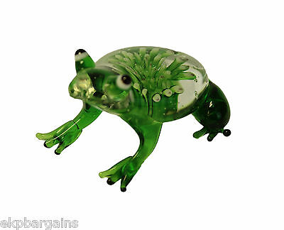 Miniature Hand Blown Art Glass Figurine - Frog Green With Flower JCS
