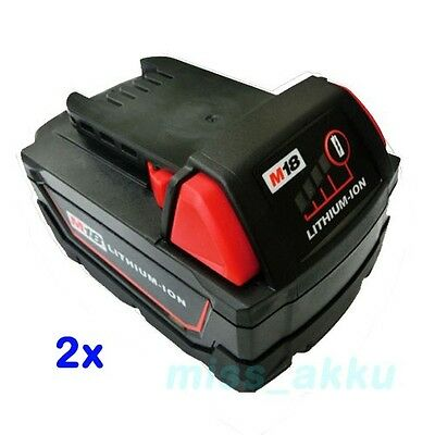 2x Batteria per Milwaukee M18 XC 48-11-1840 M18B4 LITIO Li-Ion 18V 3.0 Ah NUOVO