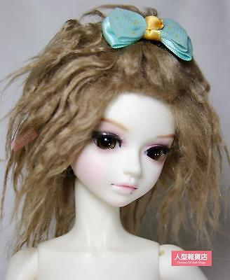 BJD Doll 1//4 7-8 Wig Short Afro Hair Fabric Fur Wig for Boy Girl Light Yellow