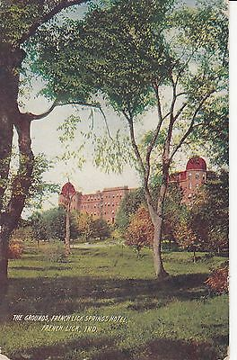 French Lick, Indiana - The Grounds,French Lick Springs Hotel - Postcard