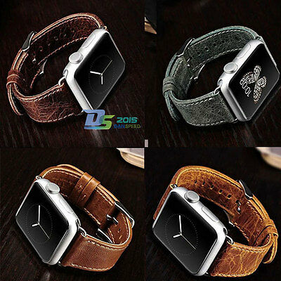 New Classic Vintage Genuine Leather Watch Band Strap For Apple Watch 38MM&42MM