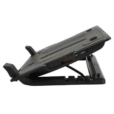"""9-17"""" Laptop PC 2 USB Cooling Powerf 1 Fan Cooler Adjustable Stand Pad Black"""