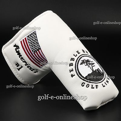 New American Pebble Beach White Golf Putter Head cover for Titleist Anser Ping