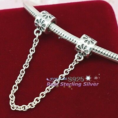 925 Sterling Silver Daisy Flower Safety Chain for Bracelets Bead Charm