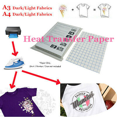 Lot T-Shirt Print Iron-On Heat Transfer Paper Sheets For Dark/Light Fabric Cloth