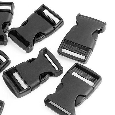 """10 Pcs 1"""" 2.5CM Width Plastic Safety Quick Release Buckles Black BF"""