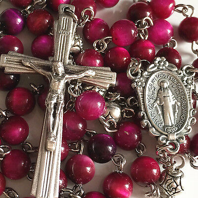 Red Tiger Eye & Silver Rose Prayer Beads ROSARY CROSS CRUCIFIX NECKLACE CATHOLIC
