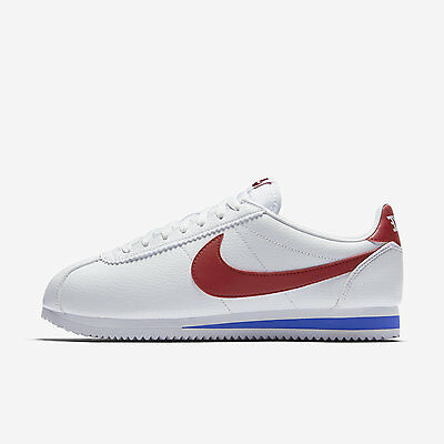 Nike Classic Cortez Leather Forrest Gump 749571-154 White Varsity Royal Red Blue
