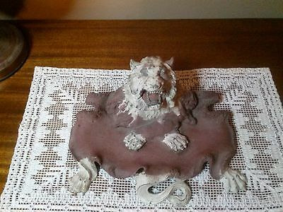 Antique Victorian C 1880 Cast Iron Lion Head and Body Inkwell  original ink bowl