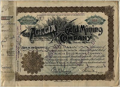 1896 Acacia Gold Mining Company Stock Certificate Cripple Creek
