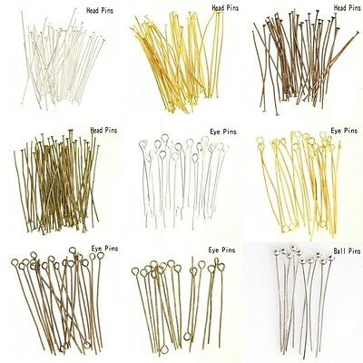 100pcs Silver Plated Ball Head Eye Pins Jewelry Finding 16/20/30/40/50/60/70mm