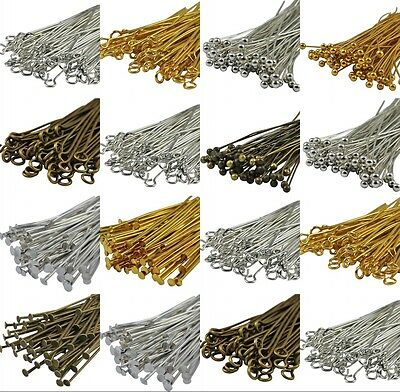 100PCS Bronze, Gold & SILVER PLATED Metal BALL EYE HEAD PINS 30/40/50/60/70mm