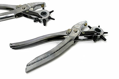 HEAVY DUTY REVOLVING HOLE PUNCH LEATHER BELT PLASTIC PLIER PUNCHER EYELET New
