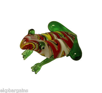 Miniature Hand Blown Art Glass Figurine - Frog Multi Colors JCS