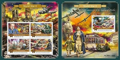 Z08 Imperforated MLD15-1306ab MALDIVES 2015 World War II Bombing of Drezden MNH