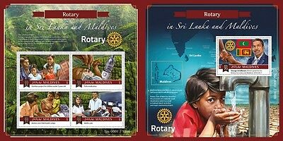 Z08 Imperforated MLD15-1309ab MALDIVES 2015 Rotary MNH ** Postfrisch Set