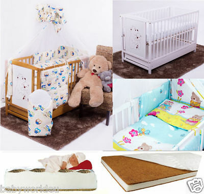 14-Pcs Nursery Set Including Baby Cot With Drawer + 12-Pcs Bedding + Mattress