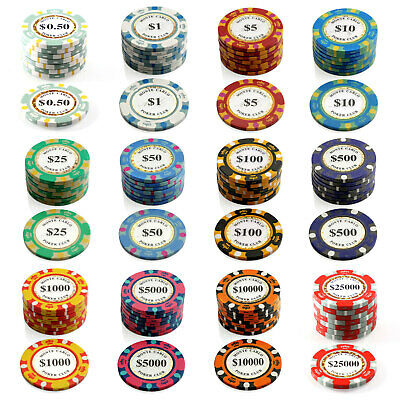 1000 Monte Carlo Chips 14g Poker Game Set Gambling Casino Pick Any Combo New