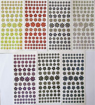Diamond Holographic Shimmer Metallic Assorted FLOWERS Blossom PEEL OFF STICKERS