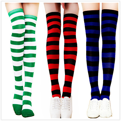 Men Women Sport Athletic Soccer Stripe Over Knee Long Socks Thigh High Stocking