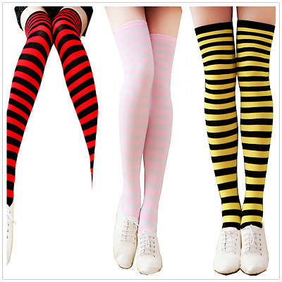 Men Women Sport Athletic Soccer Stripe Long Thigh High Stocking Socks Over Knee