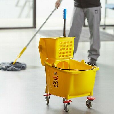 Janitorial Yellow 36 Quart Mop Bucket & Wringer Combo