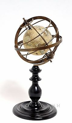 """Antiqued Armillary Brass Globe Sphere 16.5"""" Desktop Handcrafted on Wooden Stand"""