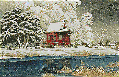 "Goldmilky cross stitch kit /'/'Japanese  Miyajima in Snow/"" 13x 20 inch c30"
