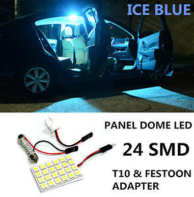 24 SMD LED Panel T10 Festoon Car Interior Dome Map Light Bulb 5050 ICE BLUE B43