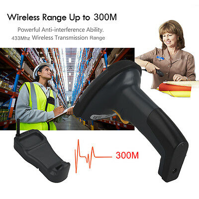 300M Wireless Cordless Portable Barcode laser Scanner Reader Inductive Charging
