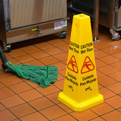 "2-Pack NEW 27"" Yellow Caution Wet Floor Cone-Shaped Sign"