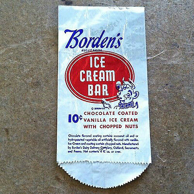 2 Vintage Original BORDEN'S ICE CREAM BAR Bag 1950s Unused Old Stock