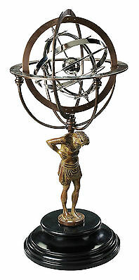 Antiqued Armillary Bronze on Atlas Statue w/Mahogany Stand By Authentic Models