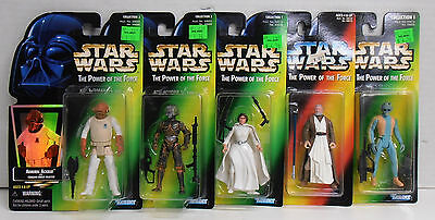 Five (5) Kenner Star Wars the Power of the Force Action Figure Ackbar Leia Greed