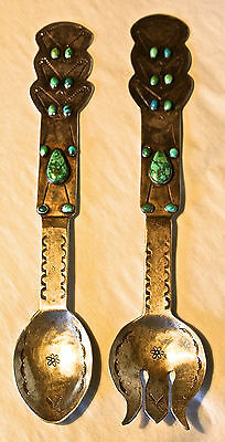 Rare Navajo Sterling Silver Turquoise Salad Servers Harvey Era O'keeffe