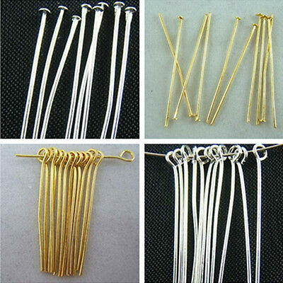 Wholesale Silver/Gold Plated Head/Eye Pins Needles Jewelry Findings 6 Sizes