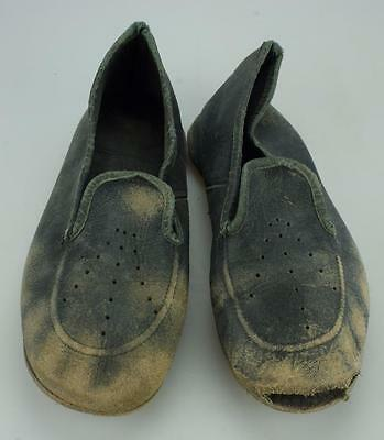 Antique Pair of Black Leather Childrens Slippers SS176