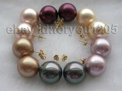 Wholesale 6pieces Natural 16mm Shell Pearl Earrings 14k